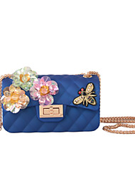 Women Bags All Seasons Silica Gel Shoulder Bag Rhinestone Appliques Sparkling Glitter Bead Seemless Sequined Floral Petals Pattern Sided