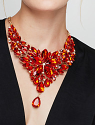 cheap -Women's Luxury Flower Crystal Statement Necklace  -  Luxury Elegant Fashion Red Light Blue Rainbow 40+5cm Necklace For Party Anniversary