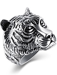 abordables -Homme Zircon cubique Anneau de bande - Acier au titane Classique, Rétro, Basique 7 / 8 / 9 / 10 / 11 Or / Blanc / Noir Pour Soirée Anniversaire Cadeau