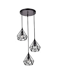 Vintage Black Metal Polygon Pyramid Lamp Pendant with 3-Lights Chandelier Living Room Dining Room Light Fixture