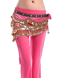 cheap -Belly Dance Hip Scarves Women's Performance Wool Flannel Metal Rhinestone Copper Coin Chain Hip Scarf
