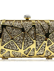 Women Bags All Seasons Polyester Evening Bag Rhinestone Sided Hollow Out for Wedding Event/Party Casual Formal Office & Career Gold Green