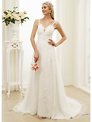 A-Line Princess Spaghetti Straps Court Train Lace Tulle Wedding Dress with Appliques Flower(s) by LAN TING BRIDE®