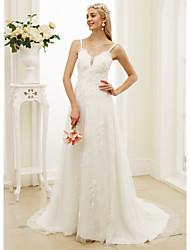 Trapèze Princesse Bretelles Fines Traîne Tribunal Dentelle Tulle Robe de mariée avec Appliques Fleur(s) par LAN TING BRIDE®