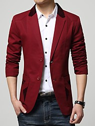 Men's Casual/Daily Simple Spring Blazer,Solid Notch Lapel Long Sleeve Regular Cotton Polyester