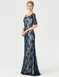 cheap -Sheath / Column V Neck Floor Length Lace Mother of the Bride Dress with Appliques by LAN TING BRIDE®