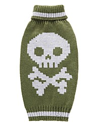 cheap -Cat Dog Coat Sweater Dog Clothes Party Casual/Daily Cosplay Keep Warm Wedding Halloween Christmas New Year's Skulls Green