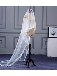 cheap -One-tier Lace Applique Edge Wedding Veil Chapel Veils With Applique Lace Tulle