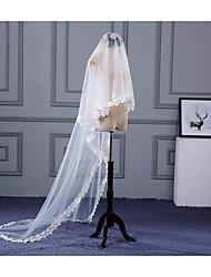 Uma Camada Borda com aplicação de Renda Véus de Noiva Véu Capela Com Apliques Renda Tule