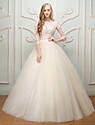 Princess Jewel Neck Floor Length Lace Tulle Wedding Dress with Embroidery Flower(s) by QZ