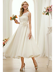 cheap -A-Line Princess Illusion Neckline Tea Length Chiffon Wedding Dress with Flower(s) Sash / Ribbon by LAN TING BRIDE®