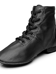 Kids' Jazz Real Leather Boots Performance Flat Heel Black