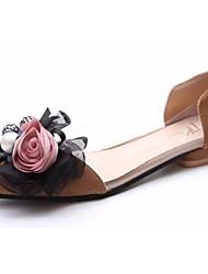 cheap -Women's Shoes PU Summer Comfort Flats Flat Heel Round Toe Flower for Dress Black Brown Pink