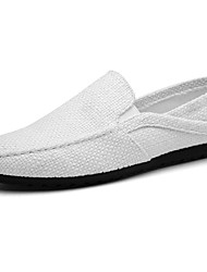 Men's Shoes Linen Spring Fall Moccasin Loafers & Slip-Ons Walking Shoes For Casual White Black Beige