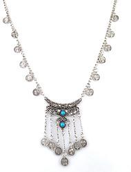 bijoux Vintage Statement Bohemian Jewelry Gypsy Turkish Boho Antique Tibetan Silver Carved Flower Bohemian Gem Coin Tassel Choker Necklace Jewelry