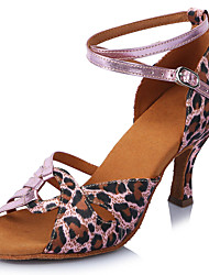 "Women's Latin Satin Sandals Heels Professional Buckle Leopard Stiletto Heel Leopard 2"" - 2 3/4"" Customizable"