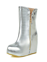 cheap -Women's Boots Snow Boots Fashion Boots Winter Leatherette Casual Dress Zipper Wedge Heel Platform Gold Silver 4in-4 3/4in