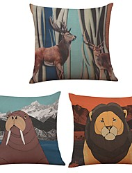 Set of 3 Cartoon Animals Cover Linen Cushion Cover Home Office Sofa Square Pillow Case Decorative Cushion Covers Pillowcases Without Insert(18*18Inch)