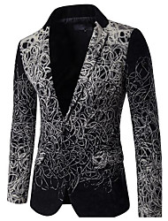 cheap -Men's Daily Street chic Spring Fall Blazer,Solid Print Cowl Long Sleeve Regular PU Polyester Nylon