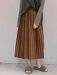 billige -Damer Sofistikerede I-byen-tøj Midi Nederdele Gynge Ensfarvet Sommer