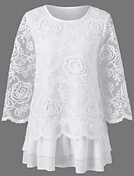 Damen Solide Einfach Lässig/Alltäglich T-shirt,Rundhalsausschnitt Sommer 3/4 Ärmel Baumwolle