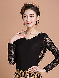 cheap -Ballroom Dance Tops Women's Training Ice Silk Lace 1 Piece Long Sleeve Tops