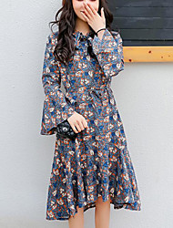 Women's Going out Casual/Daily Cute Street chic A Line Sheath Dress,Floral Print Stand Midi Above Knee Long Sleeve Cotton Linen Polyester