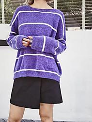 Standard Pullover Da donna-Per uscire Casual Semplice A strisce Rotonda Manica lunga Cashmere Altro Primavera AutunnoSottile Medio
