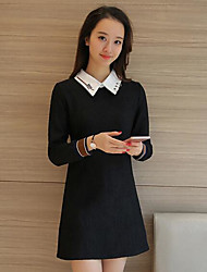 Women's Going out Casual/Daily Loose Dress,Solid Shirt Collar Above Knee Long Sleeves Polyester Spring Mid Rise Micro-elastic Medium