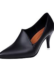cheap -Women's Heels Comfort PU Fall Winter Casual Kitten Heel Black 1in-1 3/4in