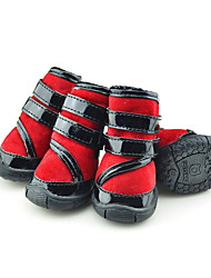 cheap -Dog Boots / Shoes Casual/Daily Waterproof Keep Warm Snow Boots Stripe Red Green Blue For Pets