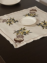 cheap -Embroidery  Tablecloth Embroidered Linen Table Cover 22*22 Inch (55*55cm)