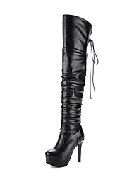 Women's Shoes Leatherette Fall Winter Fashion Boots Boots Stiletto Heel Round Toe Thigh-high Boots Zipper Lace-up For Wedding White Black