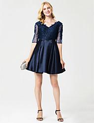 princesa v-pescoço curto / mini vestido de festa de cocktail de cetim com appliques faixa / fita