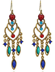 cheap -Women's Tassel / Long Drop Earrings - Drop, Heart Tassel, Vintage, Oversized Red / As Picture / Royal Blue For Stage / Going out
