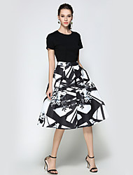 Women's Going out Casual/Daily Holiday Midi Skirts A Line Print Summer Fall