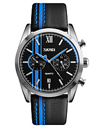 cheap -SKMEI Men's Quartz Wrist Watch Japanese Calendar / date / day Water Resistant / Water Proof Stopwatch Leather Band Casual Dress Watch