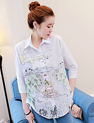 Women's Office/Career Daily Casual Sexy Vintage Cute Spring Summer T-shirt,Solid Floral Embroidered Shirt Collar 3/4 Length SleeveCotton