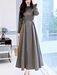 cheap -Women's Party Going out Casual Swing Dress,Check Patchwork Stand Maxi Long Sleeves Cotton Polyester Winter Fall High Rise Micro-elastic