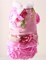Недорогие -Собака Костюмы Платья Одежда для собак Дышащий Косплей Новый год Цветочные/ботанический Красный Розовый Костюм Для домашних животных