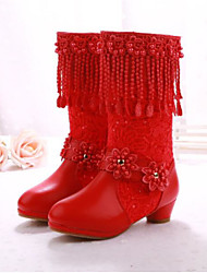 Girls' Shoes Leather Winter Comfort Boots For Casual Red Blushing Pink