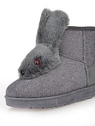 Women's Boots Comfort Fabric Winter Casual Flat Heel Burgundy Gray Black Flat