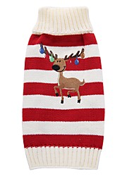 cheap -Dog Coat Sweater Dog Clothes Party Casual/Daily Holiday Fashion Wedding New Year's Christmas Reindeer Red Green Costume For Pets