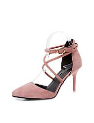 Women's Sandals Comfort PU Spring Summer Casual Dress Kitten Heel Black Green Blushing Pink 2in-2 3/4in