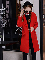 Women's Casual/Daily Simple Spring Winter Coat,Solid Shirt Collar Long Sleeve Long Cotton
