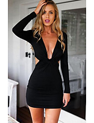 Women's Party Casual/Daily Club Sexy Bodycon Dress,Solid Deep V Above Knee Long Sleeves Others Spring Fall Mid Rise Micro-elastic Medium