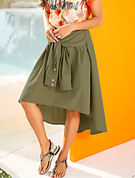 cheap -Women's Daily Going out Holiday Asymmetrical Skirts,Casual Street chic Swing Polyester Solid Spring Summer
