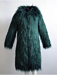 Cappotto di pelliccia Da donna Casual Semplice Autunno Inverno,Tinta unita Con cappuccio Pelliccia di volpe Lungo Manica lunga