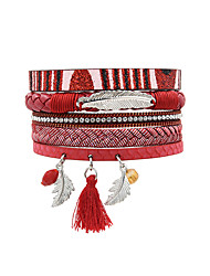 Fashion Women Multi Rows Rhinestone Metal Leaf Magnet Charm Leather Bracelet