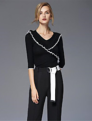 Standard Pullover Da donna-Casual Tinta unita A strisce Rotonda Mezza manica Rayon Nylon Autunno Inverno Medio spessore Media elasticità